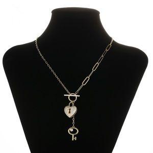 Jewelry - 14k gold plated cz diamond heart&key necklace